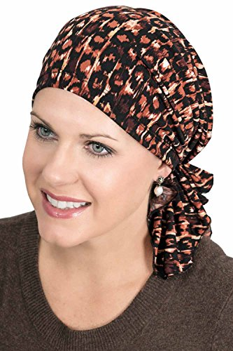 - Slip-On Slinky-Caps for Women with Chemo Cancer Hair Loss Spandex Jersey - Safari
