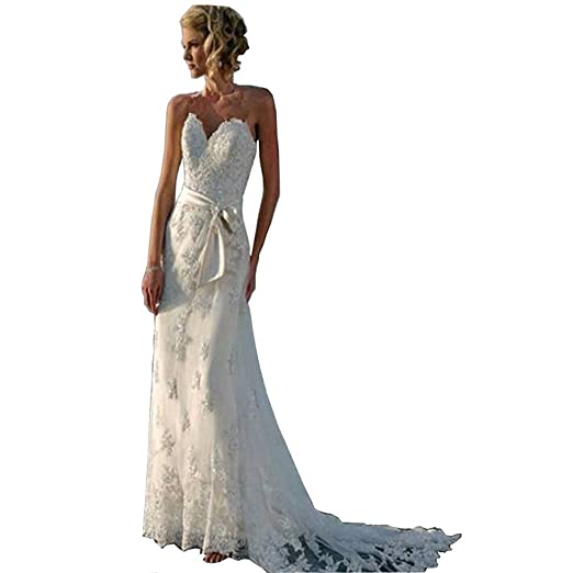 Chady Lace Mermaid Wedding Dress 2018 Appliques Backless Beach Wedding  Dresses Bridal Gowns at Amazon Women s Clothing store  6bf076b7d3