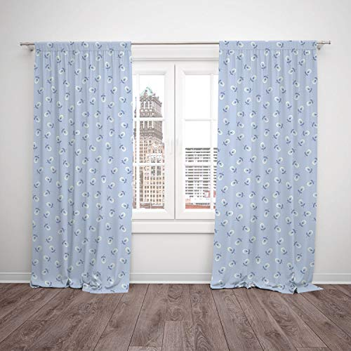 (Thermal Insulated Blackout Window Curtain,Floral,Cute Small Spring Flowers on Blue Background Romantic Retro Pattern,Baby Blue Violet Blue White,Living Room Bedroom Kitchen Cafe Window Drapes 2)