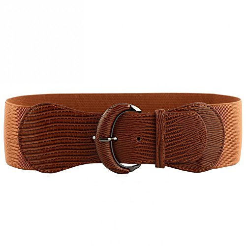 (VOCHIC PU Leather Elastic Wide Belt for Women Stretch Thick Waist Belt for Dress, Brown, One)