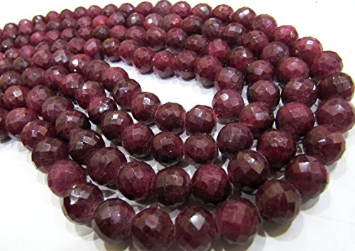 (Ruby Corundum Round Faceted Beads 8 mm to 12 mm/Micro Faceted Precious Gemstone / 1 mm Hole/Strand 8 inch Long/Sold in Wholesale Rate)