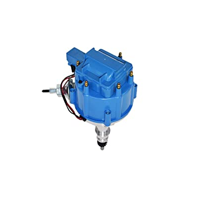 A-Team Performance HEI Complete Distributor Compatible with Ford Inline 6 65K Coil 144 170 200 250 5/16 Hex Shaft One Wire Installation Blue Cap: Automotive