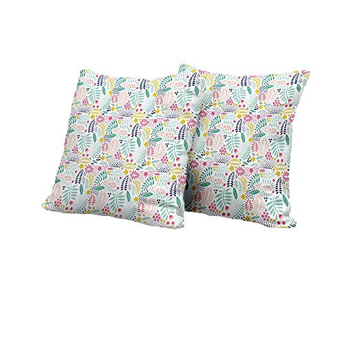 All of better futon Cushion Cover Leaves,Colorful Fresh Flower Petals Leaves Little Blossoms and Buds Childish and Cheerful,Multicolor Pillow Covers 14x14 INCH 2pcs (Futon Olive Cover Damask)