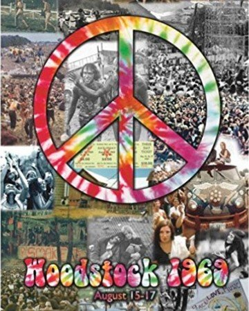 Woodstock and Peace Sign Collage 20x16 Art print Poster 60's Music 1969 Hippies