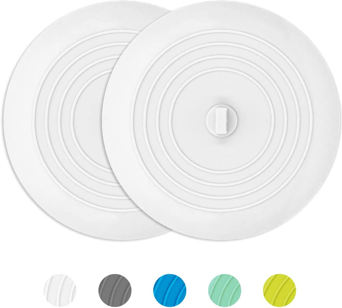 AmazerBath 2 Pack Bath Tub Stopper for Drain, 6 Inches Silicone Shower Drain Bath Plug Stopper for Kitchen, Bathroom, Laundry (White)