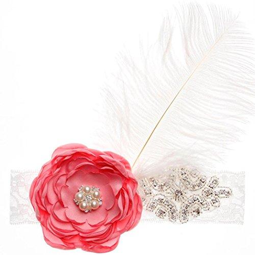 [Baby Girl Headband,Womail Flower Diamond Feather Hair Band Headband (PinkO)] (1950s Wig)
