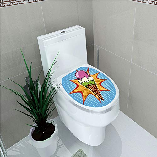 Toilet Sticker,Ice Cream Decor,Retro Pop Art Cone with Digital Dots Comic Lifestyle Old Fashion Graphic,Multicolor,Diversified,W12.6