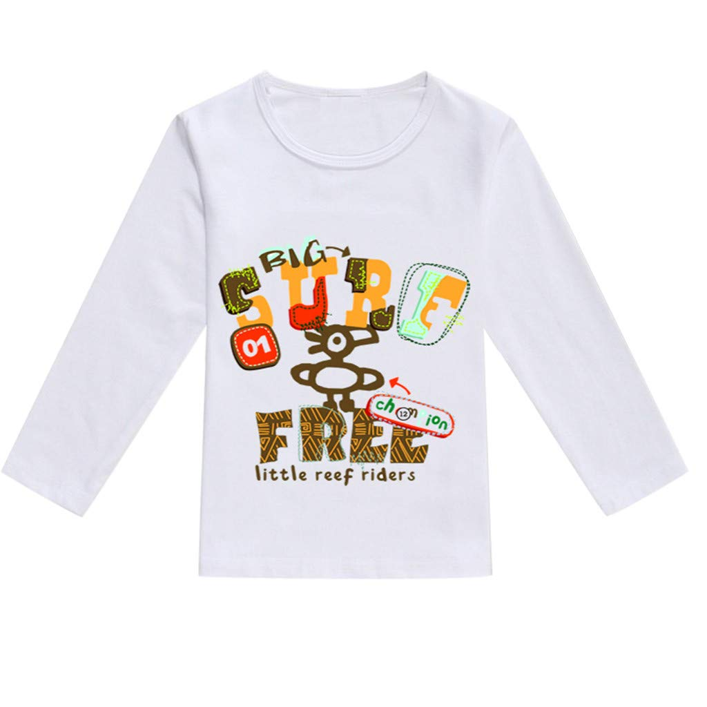 NUWFOR Toddler Baby Kids Boys Girls Spring Cartoon Print Tops T-Shirt Casual Clothes(Coffee,3-4 Years)