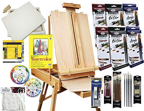 Artist Painting Set W/Table-Top & Full Easel, Art Painting Brushes, Paint Tubes, Painting Pads, Stretched Canvas, Painting Knives for Oil, Watercolor, Acrylic Painting & Art Sketch from French Easels