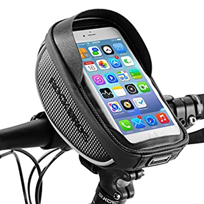 "RockBros Bike Cell Phone Case Waterproof Carbon Handlebar Bag Below 6.0"" Fits for iPhone Samsung Galaxy Touch Phone Black"