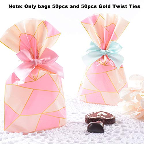 Clear Cello Bags 7.8x5.5 inch for plastic favor cellophane treat Cookie Bags,Pink Geometric, Pack of 50