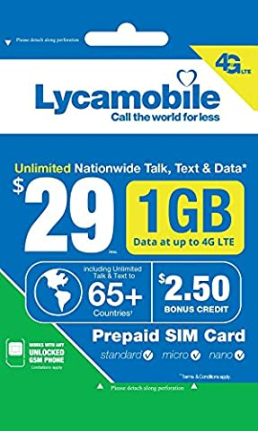 Lycamobile $29 Plan 1st Month Included SIM Card is Triple Cut Unlimited Natl Talk & Text to US and 65+ Countries 1GB Of 4G (Unlock Phone With Any Micro Sim)