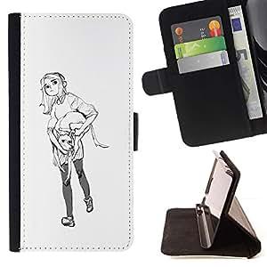 Momo Phone Case / Flip Funda de Cuero Case Cover - Croquis blanc minimaliste noir - Samsung Galaxy J1 J100