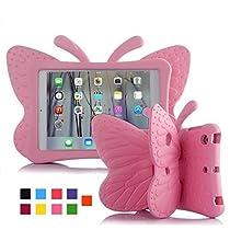 iPad mini 4 case, Leebay Non-toxic Light EVA iPad mini case, Kids-use 3D Cartoon Butterfly ipad mini 4 case, Shockproof Cover with Stand for kids (Pink)