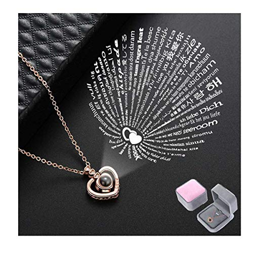 Qimoshi Love Heart Necklace for Women 100 Languages I Love You Memory Necklace Best Gift for Lover Girlfriend