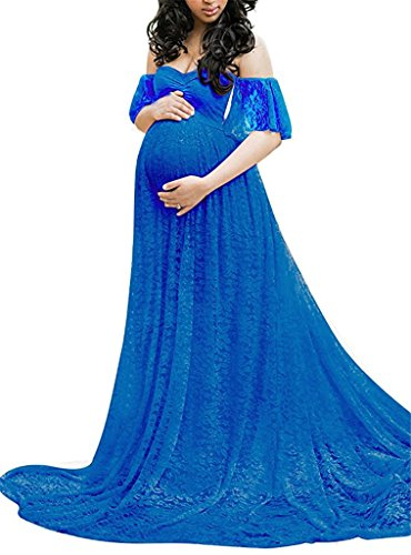 Maternity Photography Props Floral Lace Dress Fancy Pregnancy Gown for Baby Shower Photo Shoot (S, ()