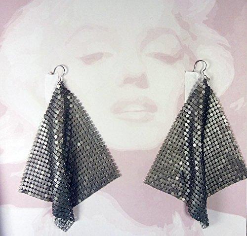 [Silver Grey metal mesh earrings, disco earrings, Silver earrings, Silver disco earrings, 70s earrings, grey dangle earrings, 70's] (70s Jewellery Disco)