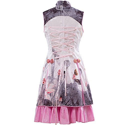 Lolita Stehkragen Kleid Partiss 3 Layer Stoffdruck Cocktailkleid Stickerei Chinoiserie Teeparty Multi Chinesische Damen Kleid CwTBqw0
