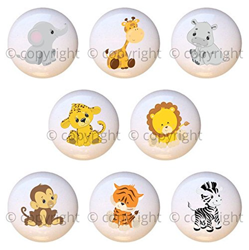 SET OF 8 KNOBS - Baby Safari Animals - DECORATIVE Glossy CERAMIC Cupboard Cabinet PULLS Dresser Drawer - Handcrafted Drawer