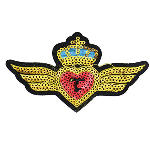 (Monrocco 2pc Fashion Embroidery Crown Wings Patch Sew-on Patch Badges for Clothes Backpacks T-Shirt Jeans Cloth Decoration)