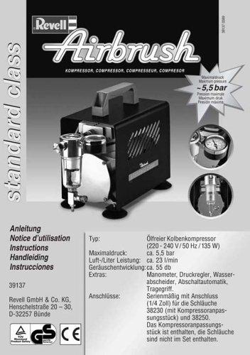 Revell airbrush 39137 compresor de aire para aer grafo for Aerografo crayola amazon