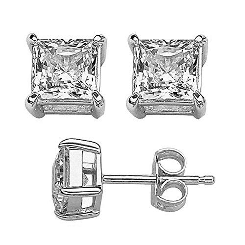 2mm Princess Cut CZ Solitaire Stud Earrings 925 Sterling Silver (Stud Asscher)