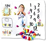 Monthly Large Unisex Baby Milestone Photo Prop Blanket 100% Organic Bamboo Cotton Weeks Months Years Weight Height Favorites 47x47