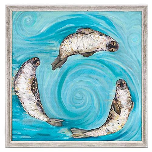 (GreenBox Art + Culture Ice Seals by Eli Halpin 6 x 6 Mini Framed Canvas, Rustic White)