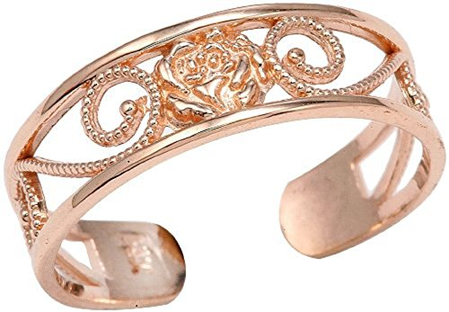 (Ladies 14k Rose Gold Filigree Pink Flower Adjustable Toe Ring)
