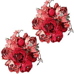 Nubry 2pcs Artificial Peony Silk Flowers Bouquet for Wedding Home Garden Decoration(Dark Red)