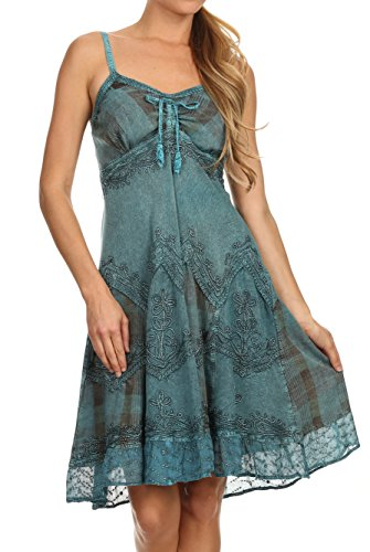Sakkas 151304 - Lacey Stonewashed Embroidered Silver Threaded Spaghetti Strap Dress - Turquoise - -