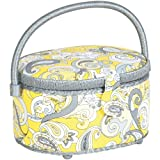 Prym Consumer USA Oval Sewing Basket, Silver and Yellow