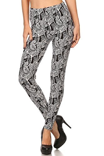 Elegant4U Junior's Printed Artistic Mehndi Pattern Fashion Leggings (Tween Leggings)
