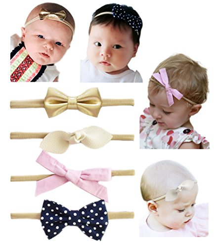 California Tot Soft & Stretchy Headbands for Baby, Toddler, Girls, Mixed Set of 4 (Fancy - Vacation Gals