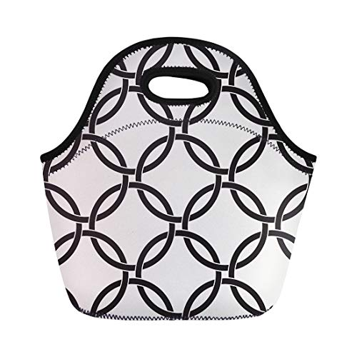 Semtomn Lunch Tote Bag Pattern Geometric Abstract Classic Intersecting Circles Celtic Grid Lattice Reusable Neoprene Insulated Thermal Outdoor Picnic Lunchbox for Men ()