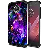 FINCIBO Moto Z2 Play 2017 Case, Dual Layer Hard Back Hybrid Protector Cover Anti Shock TPU Skin For Motorola Moto Z2 Play 2nd Gen 2017 - Purple Marvel Nebula Galaxy