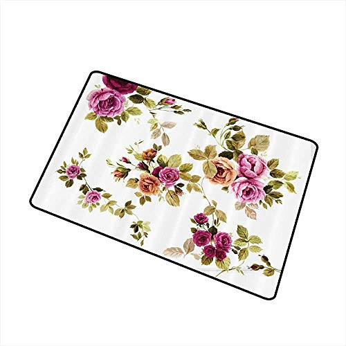 Mdxizc Bedroom Doormat Watercolor Flower Decor Collection Branch of Rose Blossoming Classic Floral Design W30 xL39 Indoor Outdoor, Waterproof, Easy Clean Purple Green White Olive