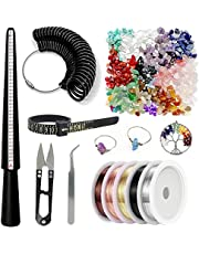 Ring Making Kit, Ring Size Measuring Tools with 14 Colors Crystal Chips Beads, Ring Mandrel, Ring Sizer Gauge, Finger Size Gauge, Jewelry Wire, Tweezers, U-Shaped Scissors for DIY Handmade Rings