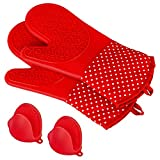 Silicone Cooking Gloves, X-Chef Extra Long Silicone Baking Gloves Heat Resistant Oven Mitts BBQ Gloves with Quilted Liner and 2 Mini Oven Mitts for Cooking Baking Barbecue Potholder, Non-Slip