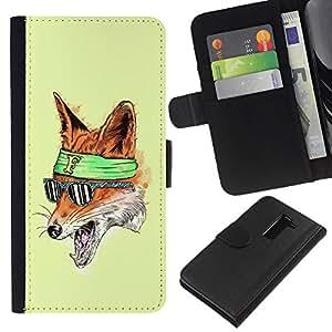 A-type (El Foxy Hipster Fox) Colorida Impresión Funda Cuero Monedero Caja Bolsa Cubierta Caja Piel Card Slots Para LG G2 D800