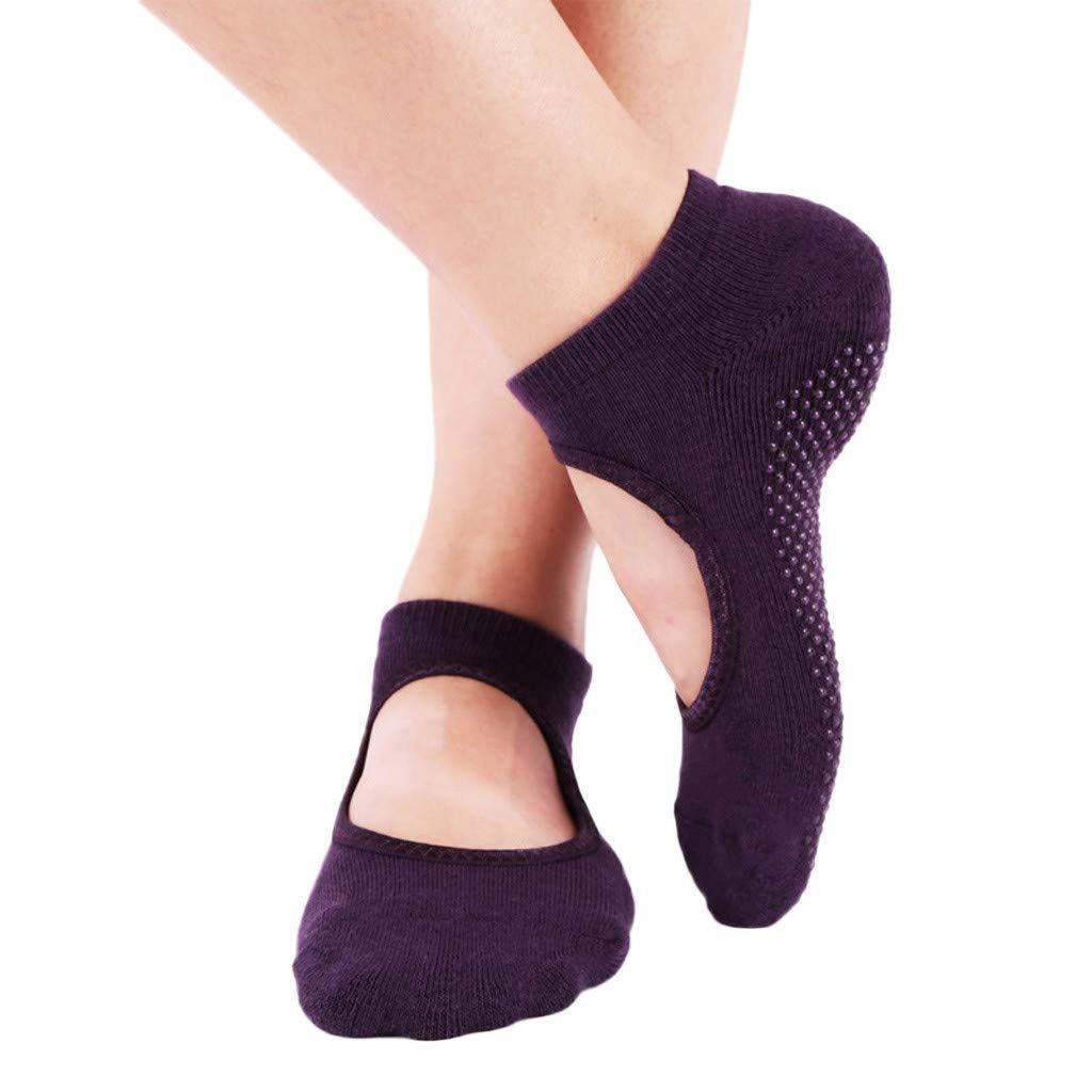 Ballet Non Skid Socks for Women Non Slip Grip Yoga Socks Sports Socks Exercise Gym Socks for Dance (B)