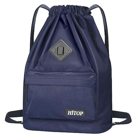 HITOP - Bolsa deportiva de cordón, ligera, unisex; mochila saco, mochila para hombre y mujer., azul: Amazon.es: Deportes y aire libre