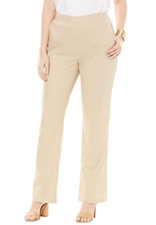 f91eaf7805e Jessica London Women s Plus Size Petite Pull-On Linen Pants at Amazon  Women s Clothing store