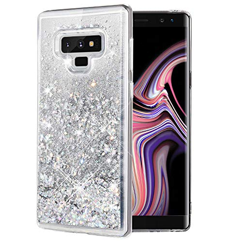 Caka Galaxy Note 9 Case, Galaxy Note 9 Glitter Case [Liquid Series] Sparkle Fashion Bling Luxury Flowing Liquid Floating Glitter Soft TPU Clear Case for Samsung Galaxy Note 9 - (Silver) - Silver Case Movement