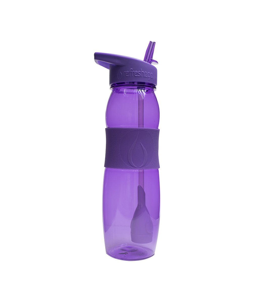 1010-PL refresh2go 26oz Curve Filtered Water Bottle with Grip Purple
