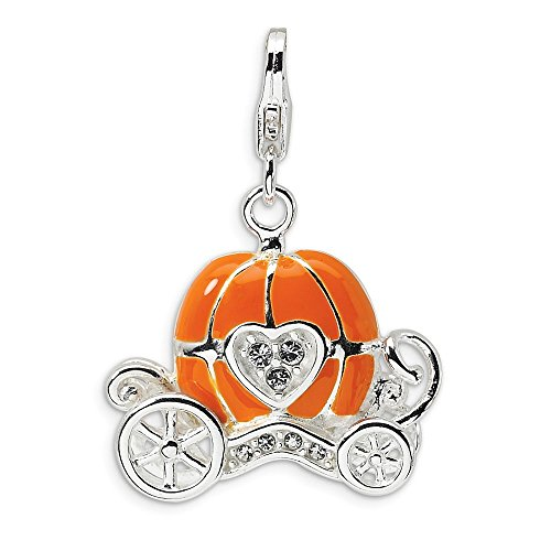 925 Sterling Silver Rh 3 D Enameled Carriage Lobster Clasp Pendant Charm Necklace Baby Fine Jewelry Gifts For Women For Her -