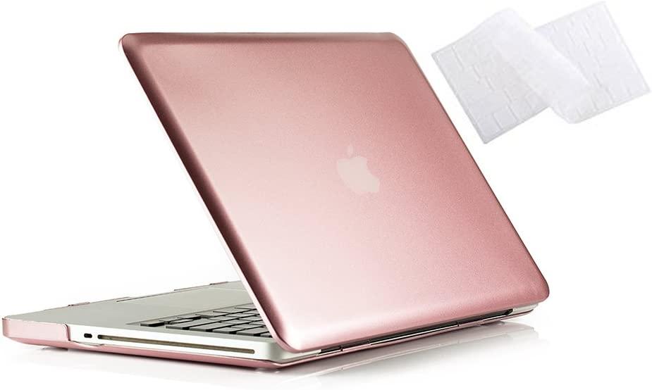 RUBAN MacBook Pro 13 Case 2012 2011 2010 2009 Release A1278, Hard Case Shell Cover and Keyboard Skin Cover for Apple MacBook Pro 13 Inch with CD-ROM - Rose Gold