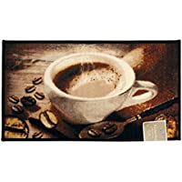 Kashi Home Rectangle Mat with Latex Back Coffee Bean Collection Kitchen Rug, 18 by 30