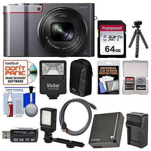 (Panasonic Lumix DMC-ZS100 4K Wi-Fi Digital Camera (Silver) with 64GB Card + Battery & Charger + Case + Flash + LED Light & Bracket + Flex Tripod Kit)