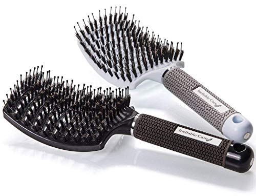 (Boar Bristle Hair Brush set - Curved and Vented Detangling Hair Brush for Women Long, Thick, Thin, Curly & Tangled Hair Vent Brush Gift kit)